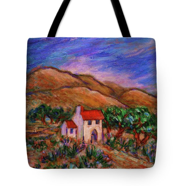 Tote Bag featuring the painting White House In An Oak Grove by Xueling Zou