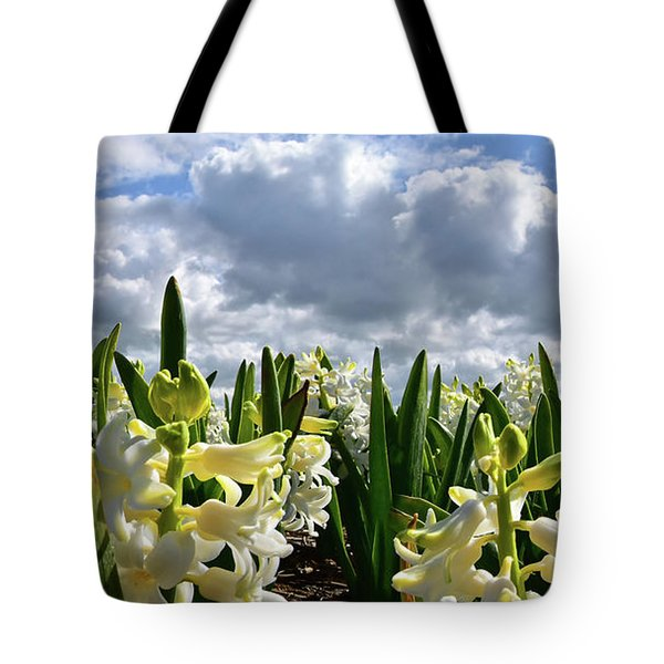 White Hyacinth Field Tote Bag by Mihaela Pater