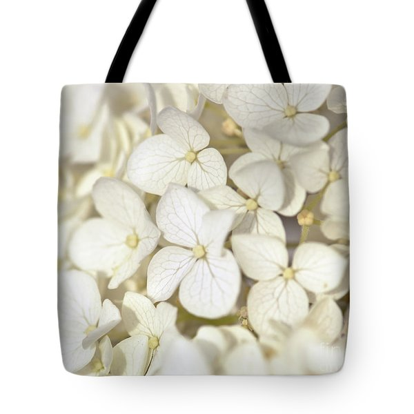 Tote Bag featuring the photograph White Hydrangea by Kerri Farley