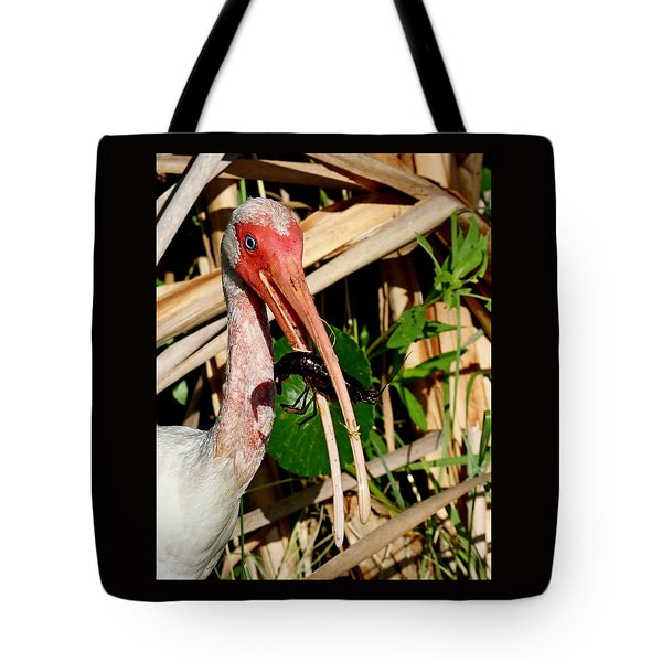 White Ibis Eating Crayfish Tote Bag