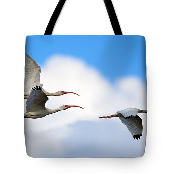 White Ibis Flock Tote Bag
