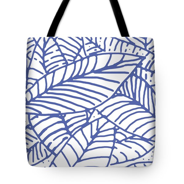 White Indigo Leaves Tote Bag