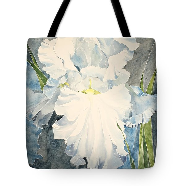Tote Bag featuring the painting White Iris - For Van Gogh - Posthumously Presented Paintings Of Sachi Spohn   by Cliff Spohn
