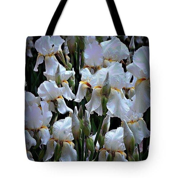 White Iris Garden Tote Bag by Sherry Hallemeier