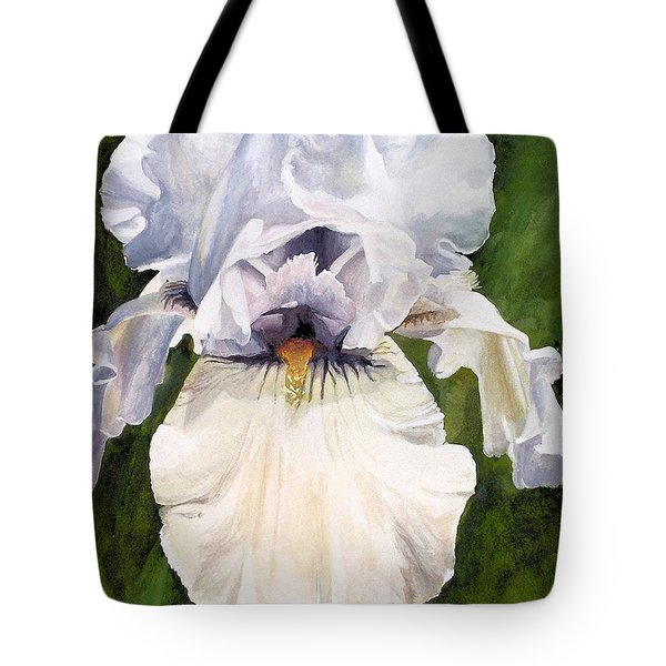 Tote Bag featuring the painting White Iris by Laurie Rohner