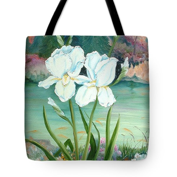 White Iris Love Tote Bag