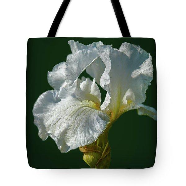 White Iris On Dark Green #g0 Tote Bag