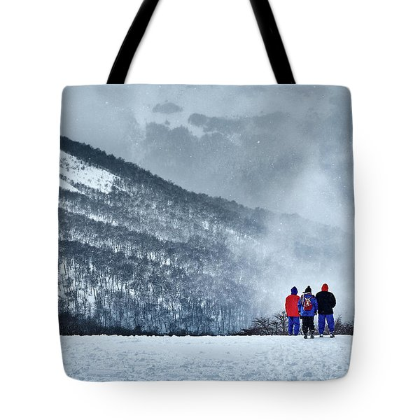 White Landscape In The Frozen Paradise In The Argentine Patagonia Tote Bag