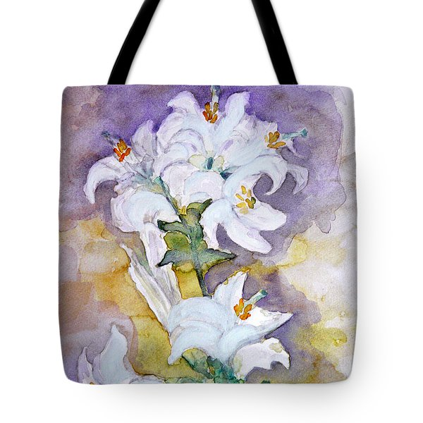 White Lilies Tote Bag by Jasna Dragun