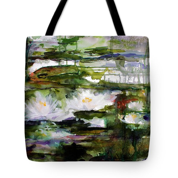 White Lilies On Black Water Wetland Tote Bag