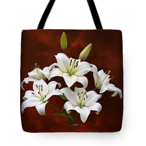 White Lilies On Red Tote Bag by Jane McIlroy