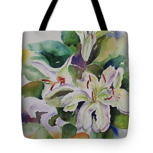 White Lilies Still Life Tote Bag by Geeta Biswas