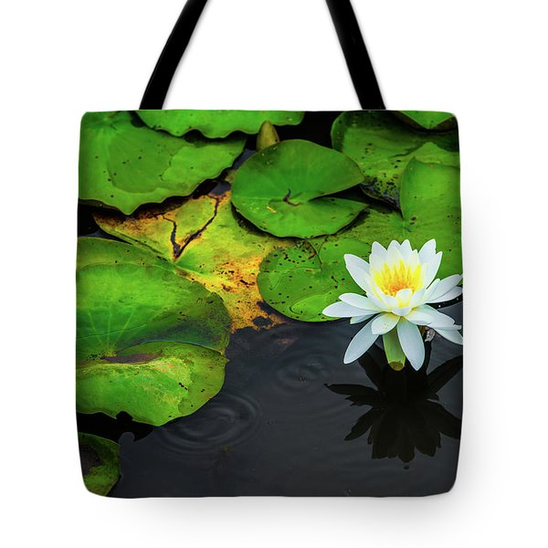 Tote Bag featuring the photograph White Lily And Rippled Water by Dennis Dame