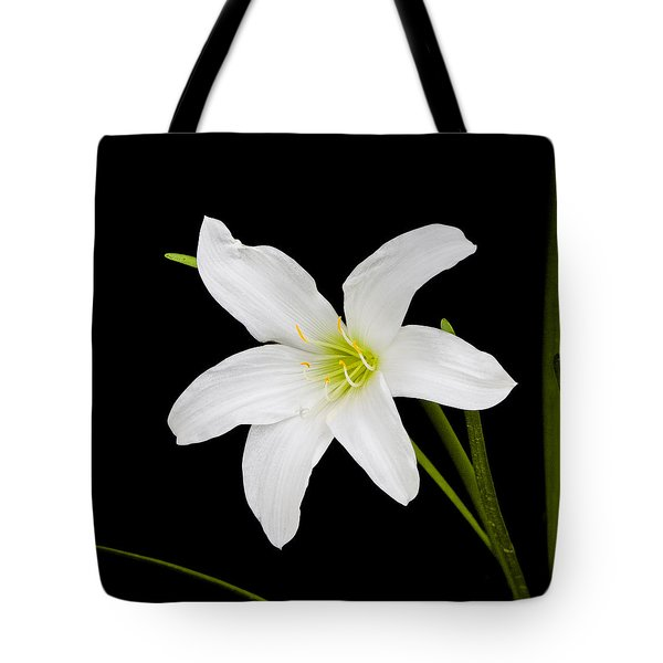 Tote Bag featuring the photograph White Lily Flower by Ken Barrett