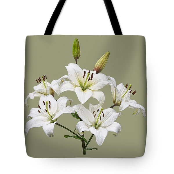 White Lilies Illustration Tote Bag by Jane McIlroy