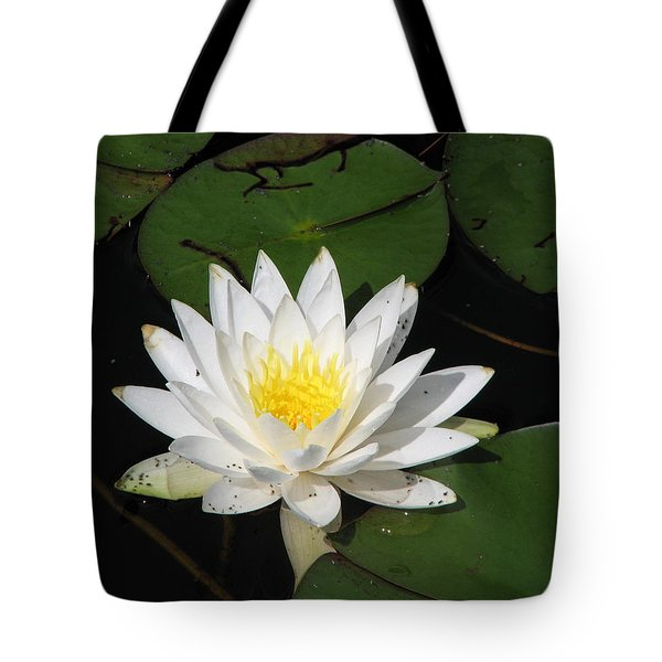 White Lily Pad Tote Bag