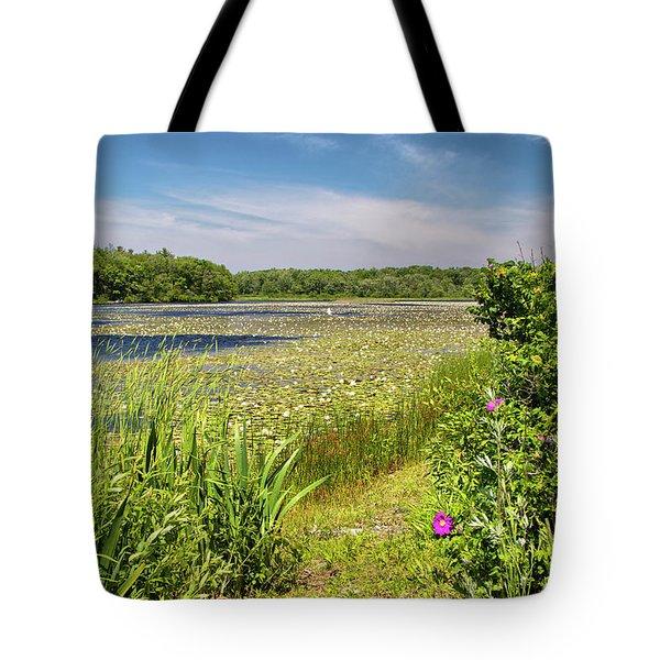 White Lily Pond  Tote Bag