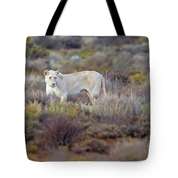 White Lioness Tote Bag