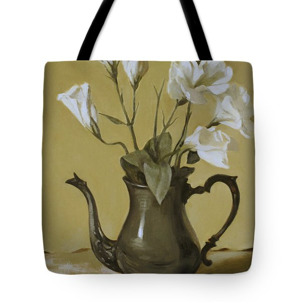 White Lisianthus In Silver Coffeepot Tote Bag