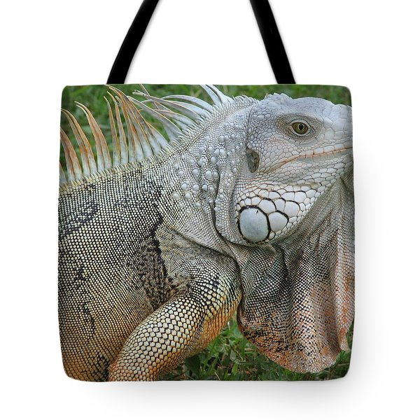 White Lizard Tote Bag
