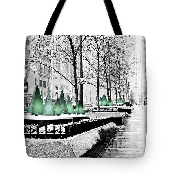 White Mag Mile Christmas Tote Bag