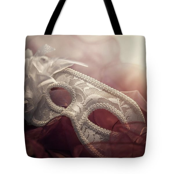 White Mask Tote Bag by Cindy Grundsten
