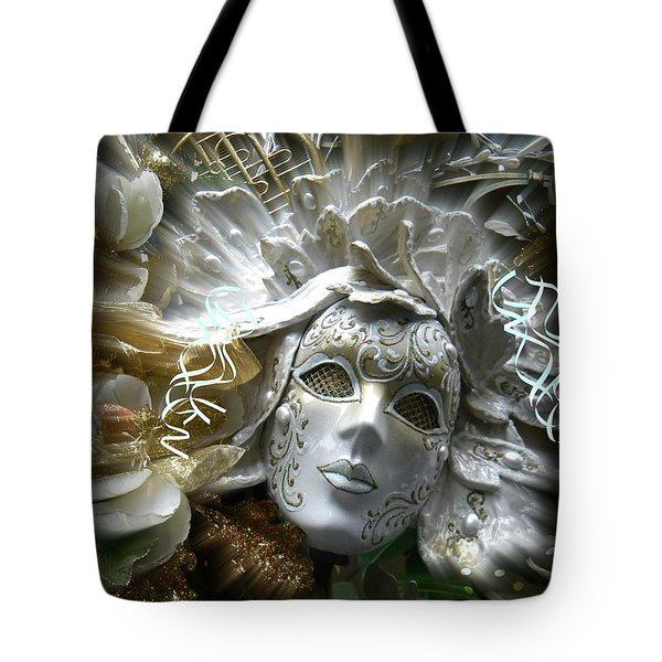 White Masked Celebration Tote Bag