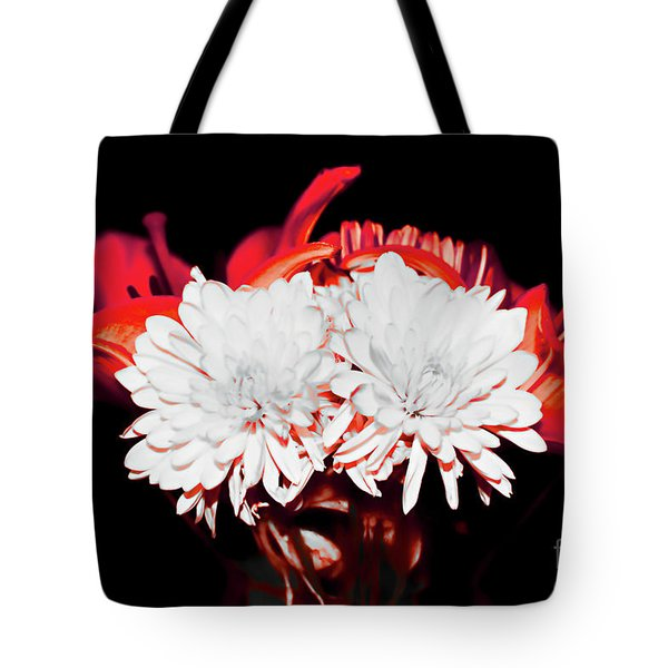 White Mums And Red Lilies Tote Bag