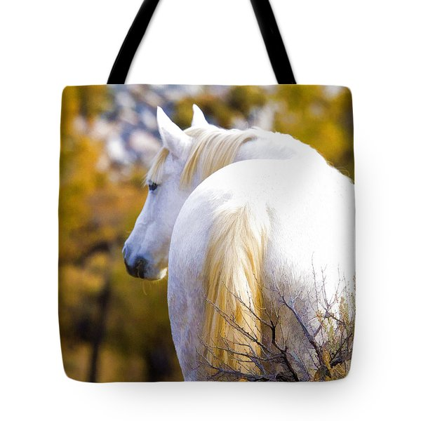 White Mustang Mare Tote Bag