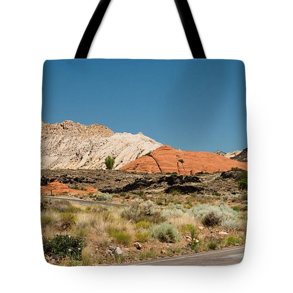 Tote Bag featuring the photograph White Navajo Sandstone Petrified Sand Dune by MaryJane Armstrong