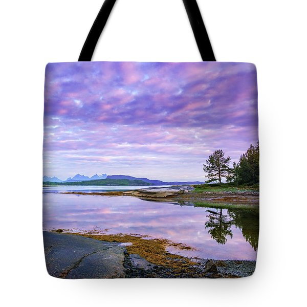 Tote Bag featuring the photograph White Night In Nordkilpollen Cove by Dmytro Korol