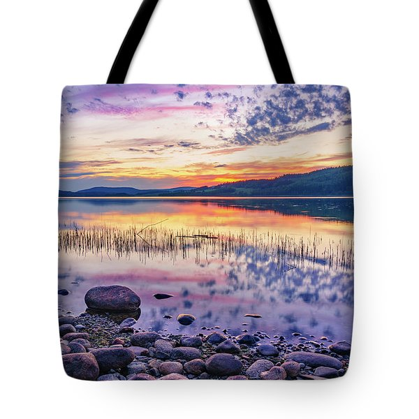 White Night Sunset On A Swedish Lake Tote Bag