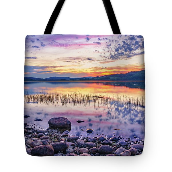 Tote Bag featuring the photograph White Night Sunset On A Swedish Lake by Dmytro Korol