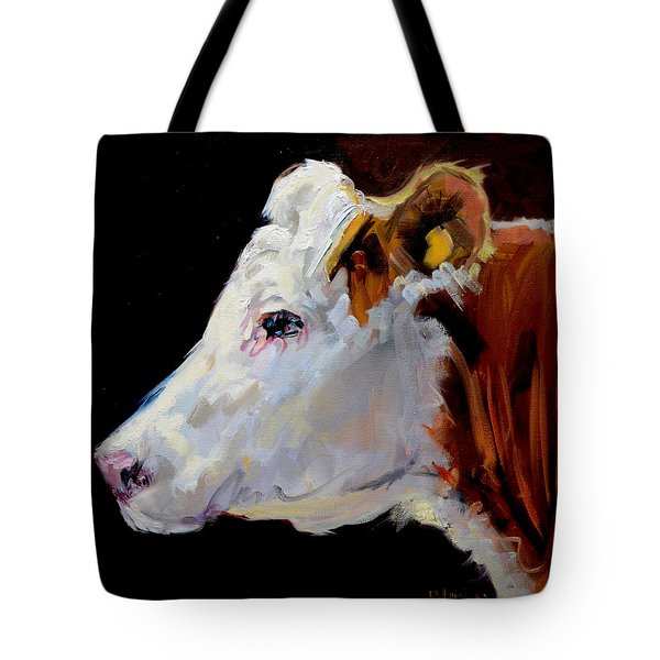 White On Brown Cow Tote Bag
