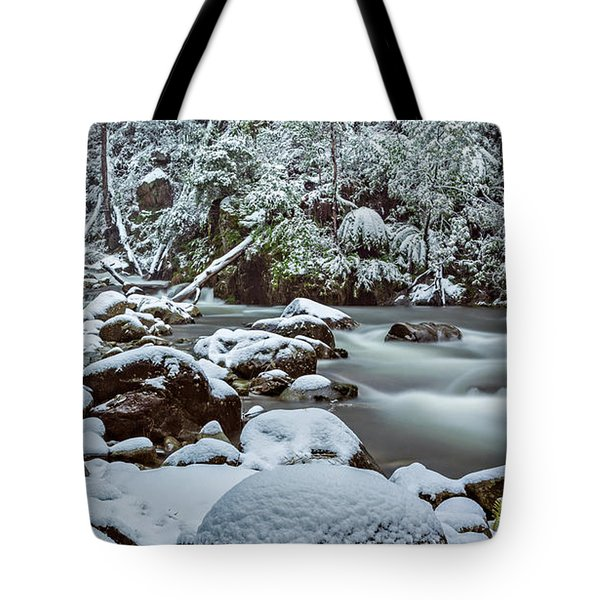 White On Green Tote Bag by Mark Lucey