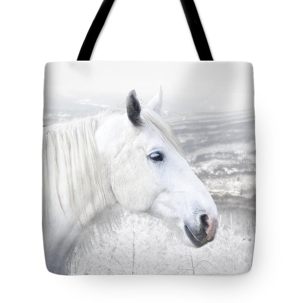 Tote Bag featuring the digital art White On White by Michele A Loftus