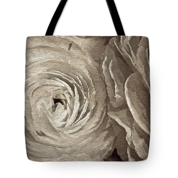 Tote Bag featuring the painting White On White Rose by Joan Reese