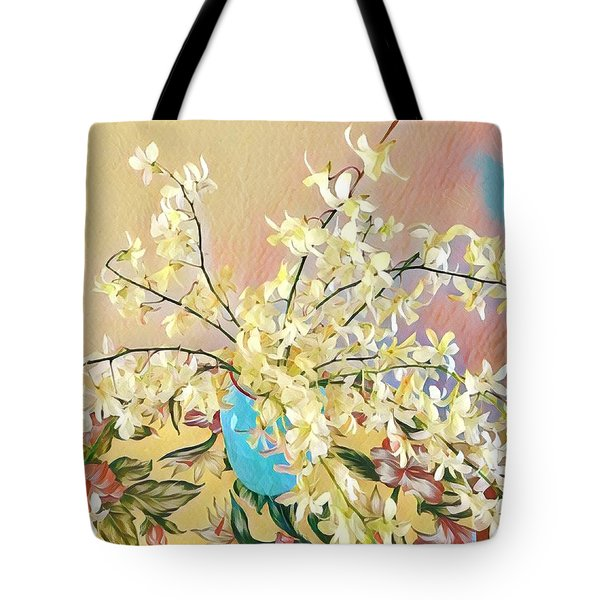 White Orchid Bouquet Pink/blue Tote Bag
