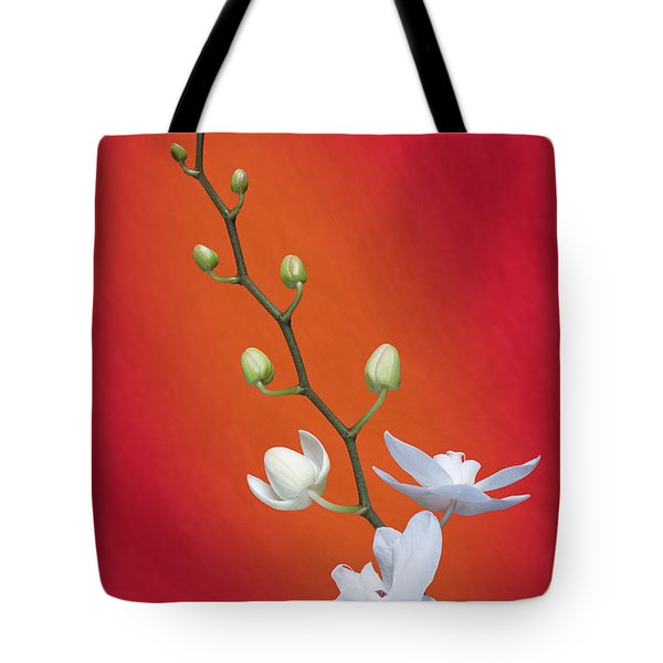 White Orchid Buds On Red Tote Bag