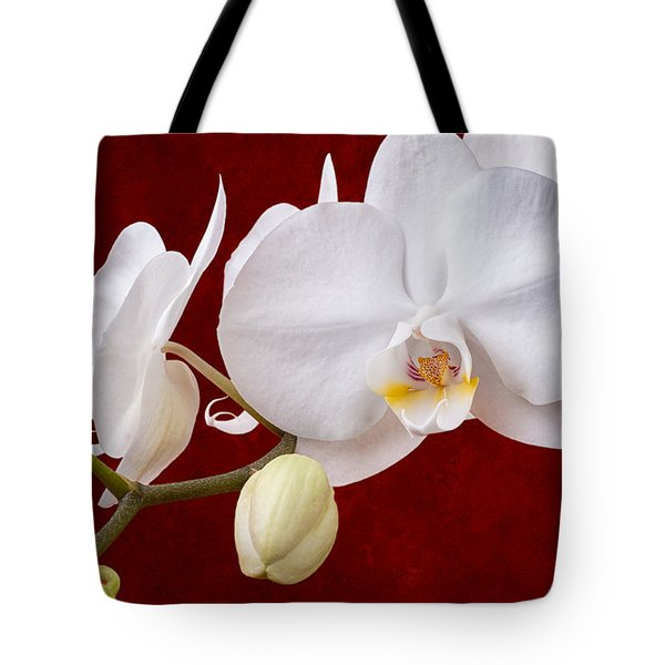 White Orchid Closeup Tote Bag by Tom Mc Nemar