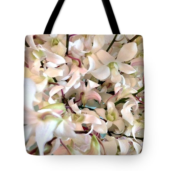 White Orchid Cluster Tote Bag