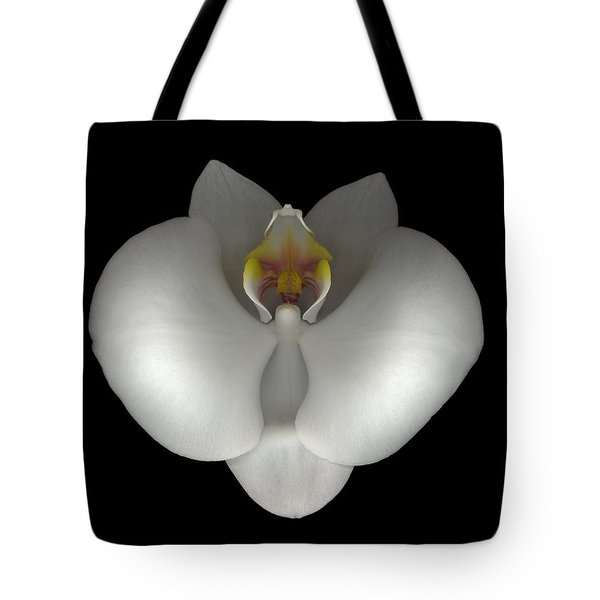 White Orchid On Black Tote Bag by Heather Kirk