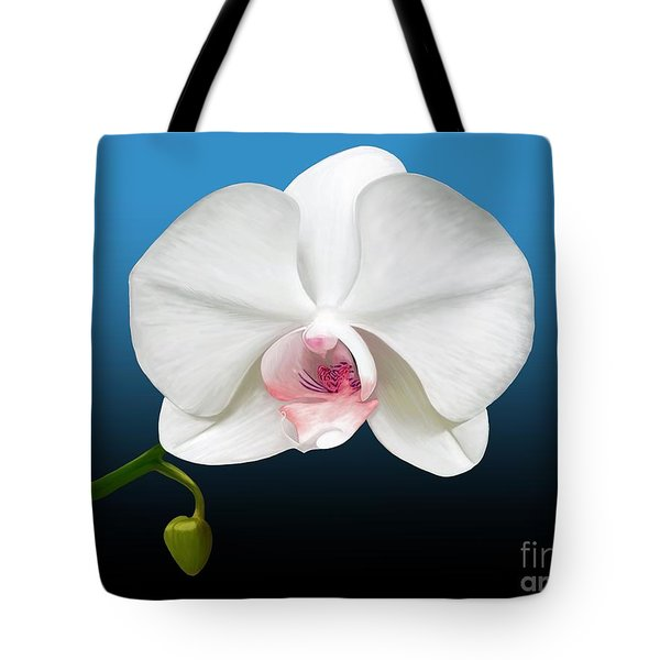 White Orchid Tote Bag by Rand Herron