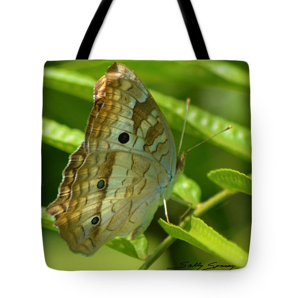 Tote Bag featuring the pyrography White Peacock Butterfly 2 by Sally Sperry