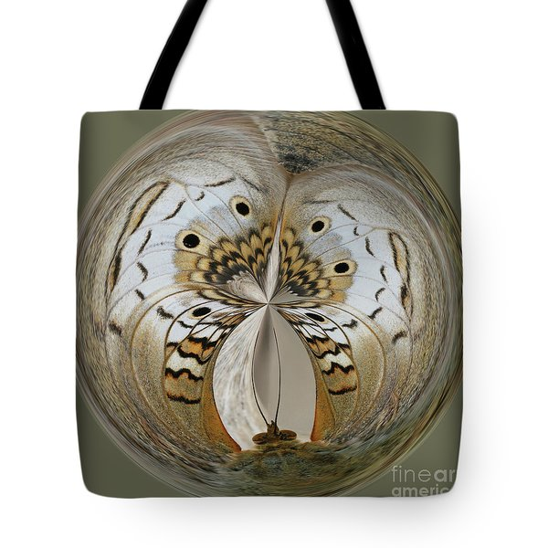 White Peacock Butterfly Orb Tote Bag
