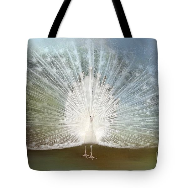 Tote Bag featuring the photograph White Peacock In All His Glory by Bonnie Barry