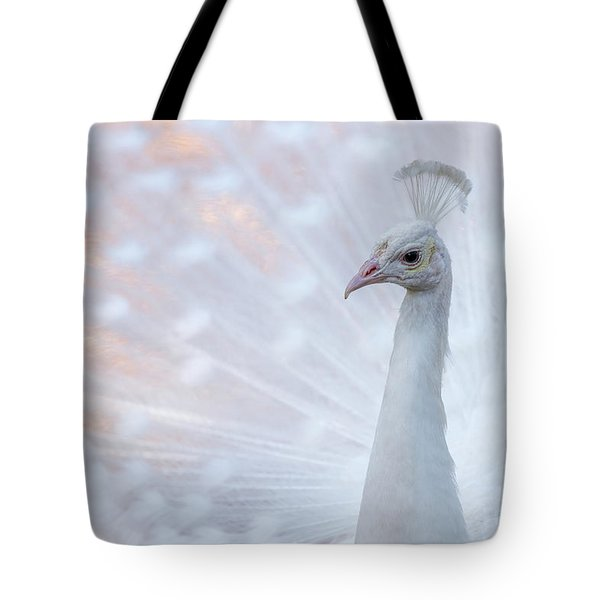 Tote Bag featuring the photograph White Peacock by Sebastian Musial