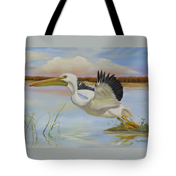 Tote Bag featuring the painting White Pelican In The Louisiana Marsh by Phyllis Beiser
