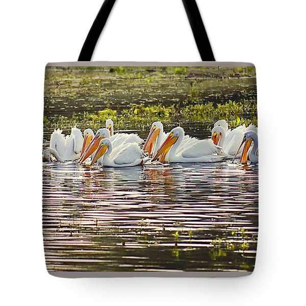 White Pelican Parade Tote Bag