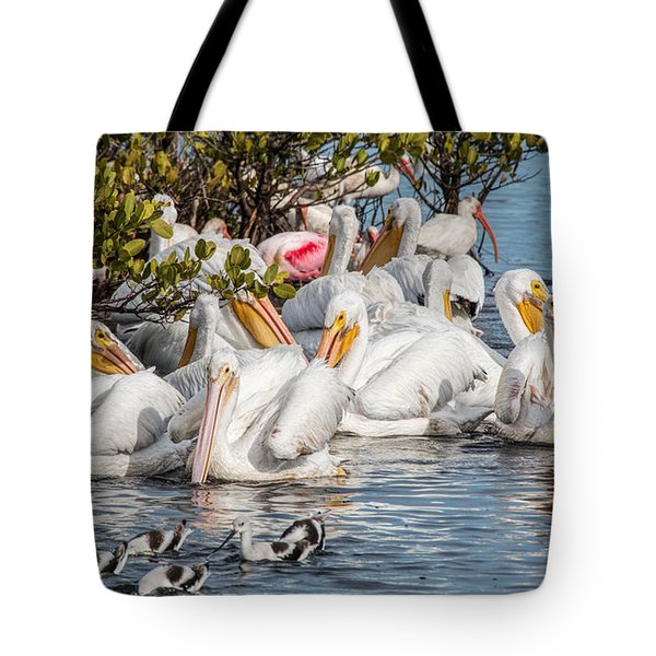 White Pelicans And Others Tote Bag